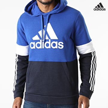 https://laboutiqueofficielle-res.cloudinary.com/image/upload/v1627638668/Desc/Watermark/adidas_performance.svg Adidas Performance - Sweat Capuche A Bandes CB H14647 Bleu Marine Bleu Roi