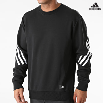 https://laboutiqueofficielle-res.cloudinary.com/image/upload/v1627638668/Desc/Watermark/adidas_performance.svg Adidas Performance - Sweat Crewneck A Bandes HB1419 Noir