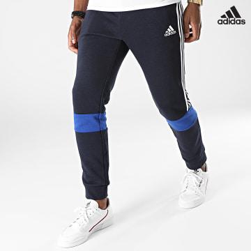 https://laboutiqueofficielle-res.cloudinary.com/image/upload/v1627638668/Desc/Watermark/adidas_performance.svg Adidas Performance - Pantalon Jogging A Bandes Colorblock H64178 Bleu Marine