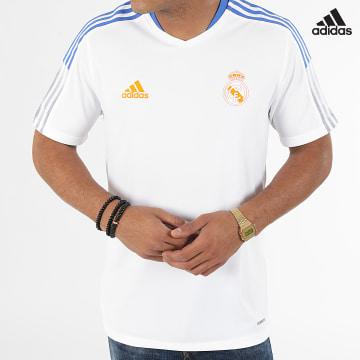 https://laboutiqueofficielle-res.cloudinary.com/image/upload/v1627638668/Desc/Watermark/adidas_performance.svg Adidas Performance - Tee Shirt De Sport A Bandes Real Madrid GR4324 Ecru