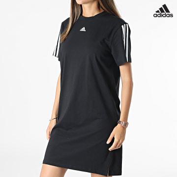 https://laboutiqueofficielle-res.cloudinary.com/image/upload/v1627638668/Desc/Watermark/adidas_performance.svg Adidas Performance - Robe Tee Shirt Femme A Bandes GS1371 Noir