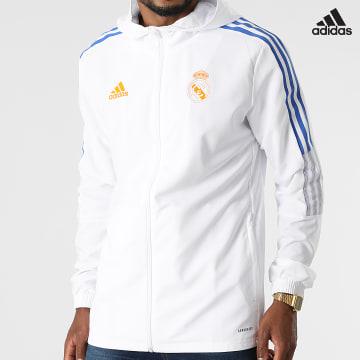 https://laboutiqueofficielle-res.cloudinary.com/image/upload/v1627638668/Desc/Watermark/adidas_performance.svg Adidas Performance - Veste Zippée Capuche A Bandes Real Madrid GR4333 Blanc