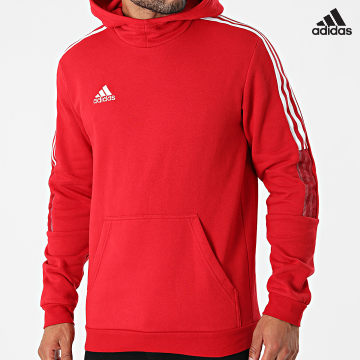 https://laboutiqueofficielle-res.cloudinary.com/image/upload/v1627638668/Desc/Watermark/adidas_performance.svg Adidas Performance - Sweat Capuche A Bandes Tiro 21 GM7353 Rouge