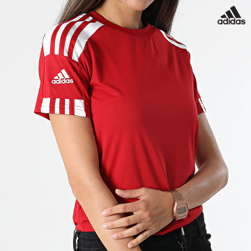 https://laboutiqueofficielle-res.cloudinary.com/image/upload/v1627638668/Desc/Watermark/adidas_performance.svg Adidas Performance - Tee Shirt Femme A Bandes Squad 21 GN5758 Rouge