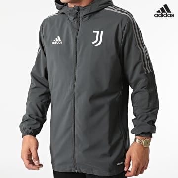 https://laboutiqueofficielle-res.cloudinary.com/image/upload/v1627638668/Desc/Watermark/adidas_performance.svg Adidas Performance - Veste Zippée Capuche A Bandes Juventus GR2968 Gris Anthracite