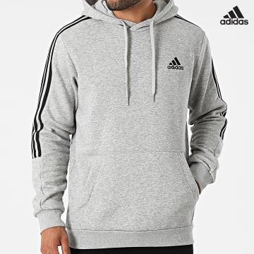 https://laboutiqueofficielle-res.cloudinary.com/image/upload/v1627638668/Desc/Watermark/adidas_performance.svg Adidas Performance - Sweat Capuche A Bandes GK9583 Gris Chiné