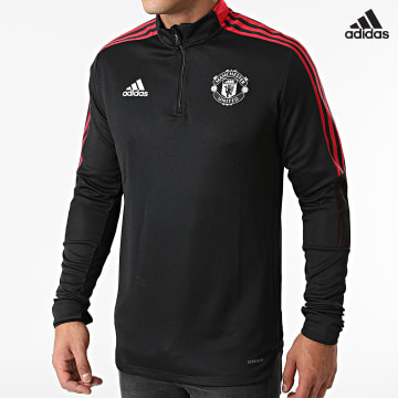 https://laboutiqueofficielle-res.cloudinary.com/image/upload/v1627638668/Desc/Watermark/adidas_performance.svg Adidas Performance - Sweat Col Zippé A Bandes Manchester United GR3812 Noir Rouge
