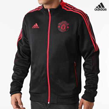 https://laboutiqueofficielle-res.cloudinary.com/image/upload/v1627638668/Desc/Watermark/adidas_performance.svg Adidas Performance - Veste Zippée A Bandes Manchester United GR3901 Noir Rouge