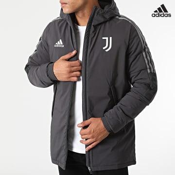 https://laboutiqueofficielle-res.cloudinary.com/image/upload/v1627638668/Desc/Watermark/adidas_performance.svg Adidas Performance - Veste Zippée Capuche A Bandes Juventus GR2977 Gris Anthracite