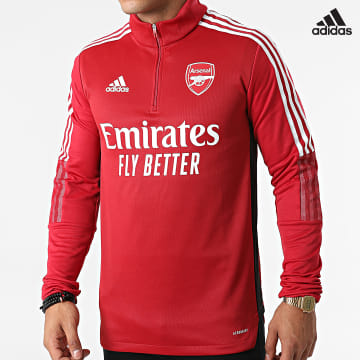 https://laboutiqueofficielle-res.cloudinary.com/image/upload/v1627638668/Desc/Watermark/adidas_performance.svg Adidas Performance - Sweat Col Zippé A Bandes Arsenal FC GR4168 Rouge Foncé
