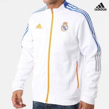 https://laboutiqueofficielle-res.cloudinary.com/image/upload/v1627638668/Desc/Watermark/adidas_performance.svg Adidas Performance - Veste Zippée A Bandes Real Madrid Anthem GR4270 Ecru