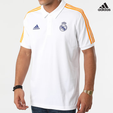 https://laboutiqueofficielle-res.cloudinary.com/image/upload/v1627638668/Desc/Watermark/adidas_performance.svg Adidas Performance - Polo Manches Courtes A Bandes Real Madrid 3 Stripes GR4242 Ecru