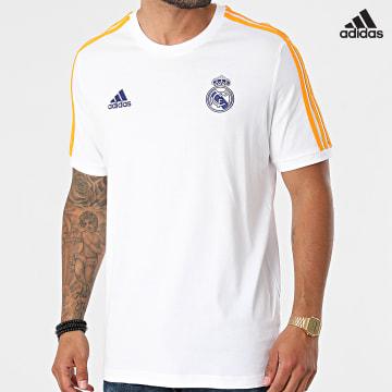 https://laboutiqueofficielle-res.cloudinary.com/image/upload/v1627638668/Desc/Watermark/adidas_performance.svg Adidas Performance - Tee Shirt A Bandes Real Madrid GR4245 Blanc Orange