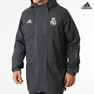 https://laboutiqueofficielle-res.cloudinary.com/image/upload/v1627638668/Desc/Watermark/adidas_performance.svg Adidas Performance - Veste Zippée A Capuche Real Madrid GR4275 Gris Anthracite