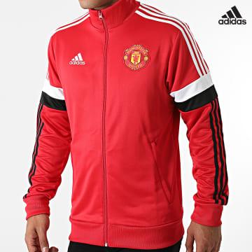 https://laboutiqueofficielle-res.cloudinary.com/image/upload/v1627638668/Desc/Watermark/adidas_performance.svg Adidas Performance - Veste Zippée A Bandes Manchester United GR3887 Rouge
