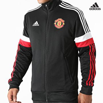 https://laboutiqueofficielle-res.cloudinary.com/image/upload/v1627638668/Desc/Watermark/adidas_performance.svg Adidas Performance - Veste Zippée A Bandes Manchester United GR3888 Noir
