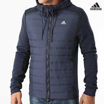https://laboutiqueofficielle-res.cloudinary.com/image/upload/v1627638668/Desc/Watermark/adidas_performance.svg Adidas Performance - Veste Zippée Capuche GE5825 Bleu Marine