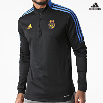 https://laboutiqueofficielle-res.cloudinary.com/image/upload/v1627638668/Desc/Watermark/adidas_performance.svg Adidas Performance - Sweat Col Zippé A Bandes Real Madrid GR4327 Noir