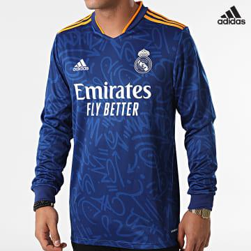 https://laboutiqueofficielle-res.cloudinary.com/image/upload/v1627638668/Desc/Watermark/adidas_performance.svg Adidas Performance - Tee Shirt De Sport Manches Longues A Bandes Real Madrid GR3988 Bleu Roi