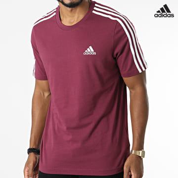 https://laboutiqueofficielle-res.cloudinary.com/image/upload/v1627638668/Desc/Watermark/adidas_performance.svg Adidas Performance - Tee Shirt A Bandes 3 Stripes H12180 Bordeaux