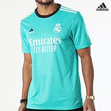 https://laboutiqueofficielle-res.cloudinary.com/image/upload/v1627638668/Desc/Watermark/adidas_performance.svg Adidas Performance - Tee Shirt De Sport A Bandes Real Madrid 3 Stripes H40951 Vert Turquoise