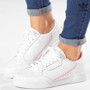 https://laboutiqueofficielle-res.cloudinary.com/image/upload/v1627646526/Desc/Watermark/3adidas_orginal.svg Adidas Originals - Baskets Femme Continental 80 G27722 Footwear White True Pink Clear Pink