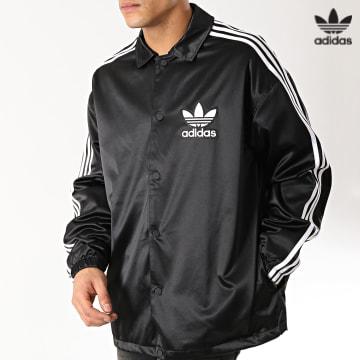 https://laboutiqueofficielle-res.cloudinary.com/image/upload/v1627646526/Desc/Watermark/3adidas_orginal.svg Adidas Originals - Veste Satinée Coach DV1617 Noir Blanc