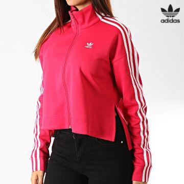 https://laboutiqueofficielle-res.cloudinary.com/image/upload/v1627646526/Desc/Watermark/3adidas_orginal.svg Adidas Originals - Veste Zippée Crop Femme A Bandes ED4755 Rose Fushia Blanc