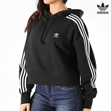 https://laboutiqueofficielle-res.cloudinary.com/image/upload/v1627646526/Desc/Watermark/3adidas_orginal.svg Adidas Originals - Sweat Capuche Femme A Bandes Short GN2890 Noir