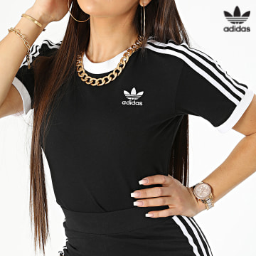 https://laboutiqueofficielle-res.cloudinary.com/image/upload/v1627646526/Desc/Watermark/3adidas_orginal.svg Adidas Originals - Tee Shirt A Bandes Femme GN2900 Noir