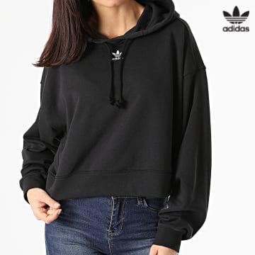 https://laboutiqueofficielle-res.cloudinary.com/image/upload/v1627646526/Desc/Watermark/3adidas_orginal.svg Adidas Originals - Sweat Capuche Crop Femme GN4777 Noir
