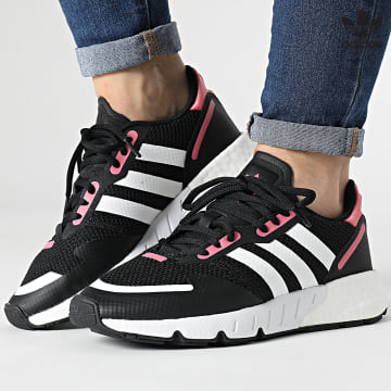 https://laboutiqueofficielle-res.cloudinary.com/image/upload/v1627646526/Desc/Watermark/3adidas_orginal.svg Adidas Originals - Baskets Femme ZX 1K Boost FX6872 Core Black Footwear White Hazy rose