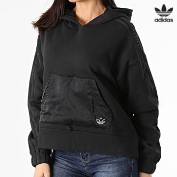 https://laboutiqueofficielle-res.cloudinary.com/image/upload/v1627646526/Desc/Watermark/3adidas_orginal.svg Adidas Originals - Sweat Capuche Femme A Bandes Boxy GN3102 Noir