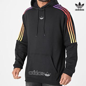 https://laboutiqueofficielle-res.cloudinary.com/image/upload/v1627646526/Desc/Watermark/3adidas_orginal.svg Adidas Originals - Sweat Capuche A Bandes Sport GN2424 Noir