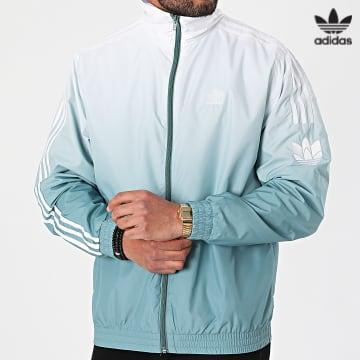 https://laboutiqueofficielle-res.cloudinary.com/image/upload/v1627646526/Desc/Watermark/3adidas_orginal.svg Adidas Originals - Veste Zippée A Bandes Dégradé 3D Trefoil GN3589 Vert Blanc