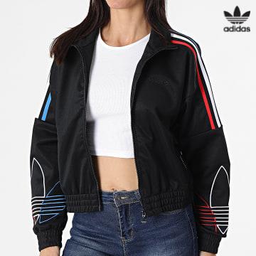 https://laboutiqueofficielle-res.cloudinary.com/image/upload/v1627646526/Desc/Watermark/3adidas_orginal.svg Adidas Originals - Veste Zippée Femme A Bandes GN2950 Noir