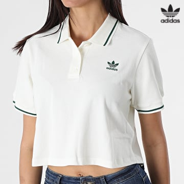 https://laboutiqueofficielle-res.cloudinary.com/image/upload/v1627646526/Desc/Watermark/3adidas_orginal.svg Adidas Originals - Polo Manches Courtes Crop Femme H56468 Blanc Cassé Vert
