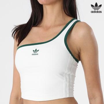 https://laboutiqueofficielle-res.cloudinary.com/image/upload/v1627646526/Desc/Watermark/3adidas_orginal.svg Adidas Originals - Top Asymétrique Femme Crop A Bandes H56465 Blanc Cassé