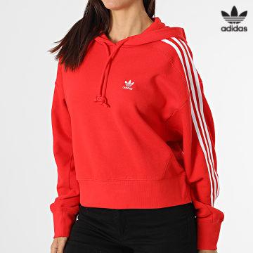 https://laboutiqueofficielle-res.cloudinary.com/image/upload/v1627646526/Desc/Watermark/3adidas_orginal.svg Adidas Originals - Sweat Capuche Femme A Bandes Short H34614 Rouge