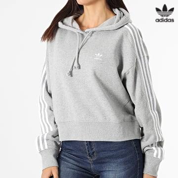 https://laboutiqueofficielle-res.cloudinary.com/image/upload/v1627646526/Desc/Watermark/3adidas_orginal.svg Adidas Originals - Sweat Capuche Femme A Bandes Short H34615 Gris Chiné