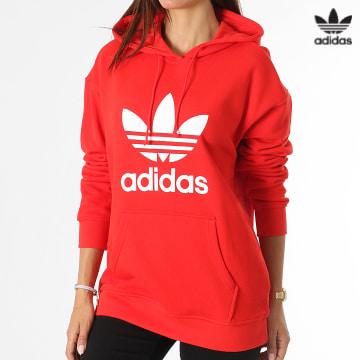 https://laboutiqueofficielle-res.cloudinary.com/image/upload/v1627646526/Desc/Watermark/3adidas_orginal.svg Adidas Originals - Sweat Capuche Femme Trefoil H33588 Rouge