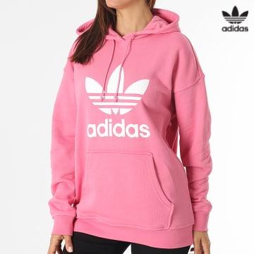 https://laboutiqueofficielle-res.cloudinary.com/image/upload/v1627646526/Desc/Watermark/3adidas_orginal.svg Adidas Originals - Sweat Capuche Femme Trefoil H33588 Rose