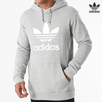 https://laboutiqueofficielle-res.cloudinary.com/image/upload/v1627646526/Desc/Watermark/3adidas_orginal.svg Adidas Originals - Sweat Capuche Trefoil H06669 Gris Chiné