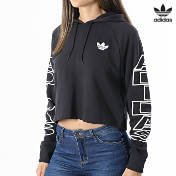 https://laboutiqueofficielle-res.cloudinary.com/image/upload/v1627646526/Desc/Watermark/3adidas_orginal.svg Adidas Originals - Sweat Capuche Femme Crop H15775 Noir