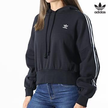 https://laboutiqueofficielle-res.cloudinary.com/image/upload/v1627646526/Desc/Watermark/3adidas_orginal.svg Adidas Originals - Sweat Capuche Femme A Bandes H37812 Noir