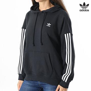 https://laboutiqueofficielle-res.cloudinary.com/image/upload/v1627646526/Desc/Watermark/3adidas_orginal.svg Adidas Originals - Sweat Capuche Femme A Bandes H37799 Noir