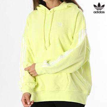 https://laboutiqueofficielle-res.cloudinary.com/image/upload/v1627646526/Desc/Watermark/3adidas_orginal.svg Adidas Originals - Sweat Capuche Femme A Bandes H37801 Jaune Fluo