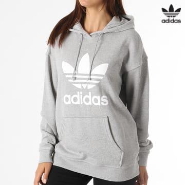 https://laboutiqueofficielle-res.cloudinary.com/image/upload/v1627646526/Desc/Watermark/3adidas_orginal.svg Adidas Originals - Sweat Capuche Femme Trefoil H33589 Gris Chiné