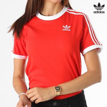 https://laboutiqueofficielle-res.cloudinary.com/image/upload/v1627646526/Desc/Watermark/3adidas_orginal.svg Adidas Originals - Tee Shirt Femme 3 Stripes H33575 Rouge