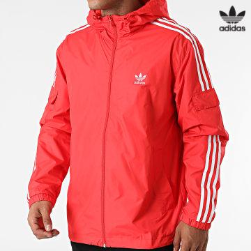https://laboutiqueofficielle-res.cloudinary.com/image/upload/v1627646526/Desc/Watermark/3adidas_orginal.svg Adidas Originals - Veste Zippée A Bandes H06685 Rouge